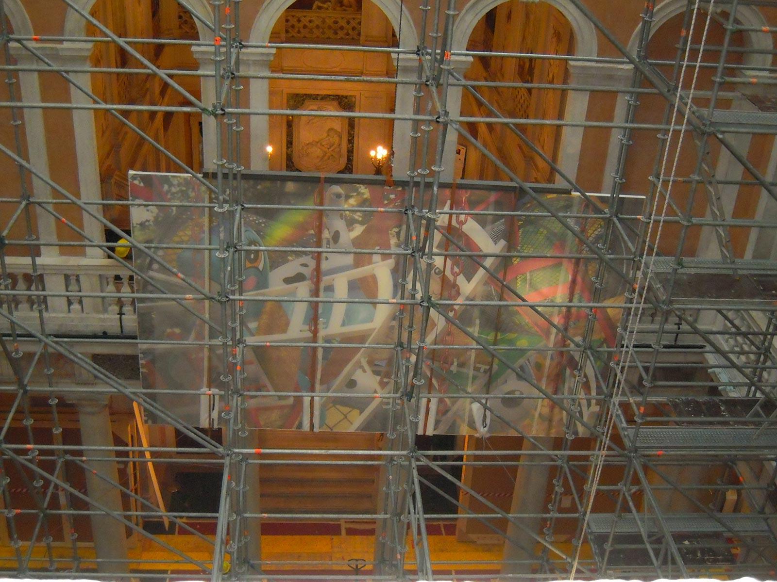 Trasporto opera d'arte a palazzo Grassi