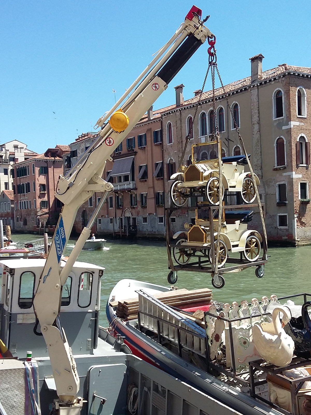 Our quay in the Tronchetto area: loading materials for events into a boat